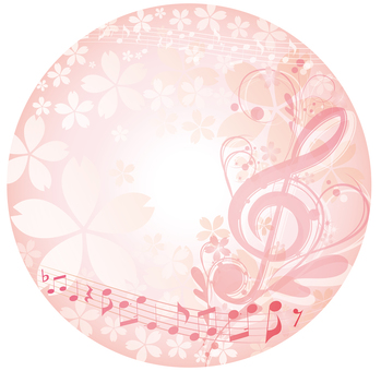 Elegant note and cherry circular label frame