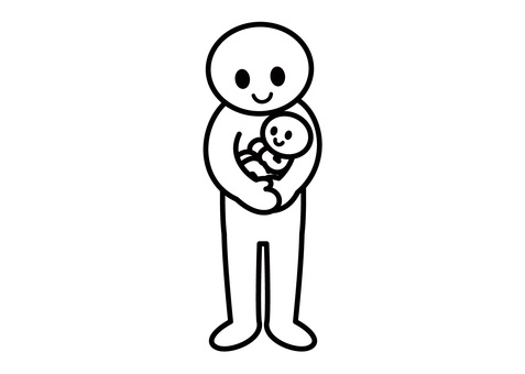 【Theme】 Stickman-Hug Baby (Horizontal)