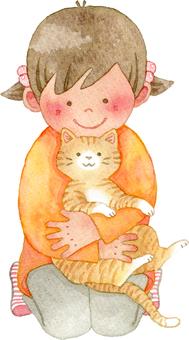 猫を抱く女の子 全身