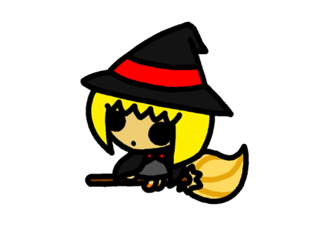 Witch black ride in a broom