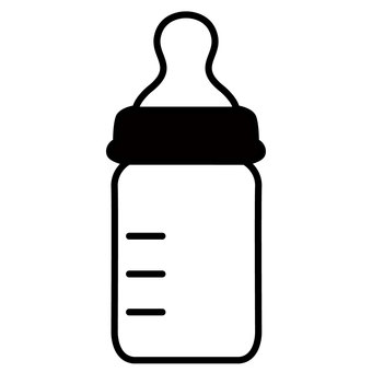 Baby bottle baby monochrome