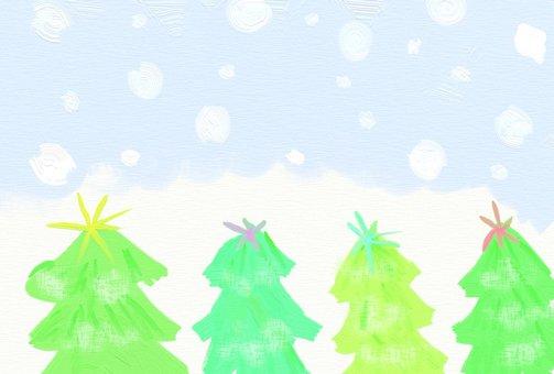 눈 내리는 나무 숲 엽서