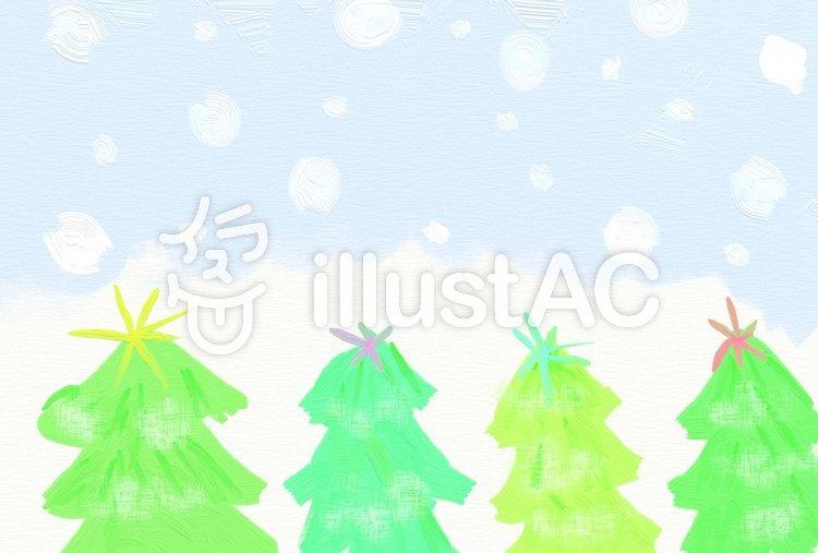 雪降るツリーの森 ハガキのイラスト