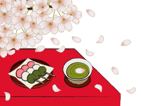 Japanese sweet shop Japanese sweets store Sakura and three color dumpling