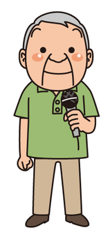 Elderly man with microphone