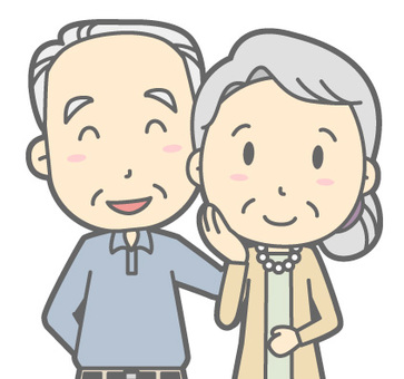 Elderly couple - smile - bust