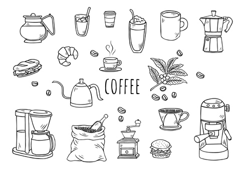 Hand-drawn illustration: coffee set