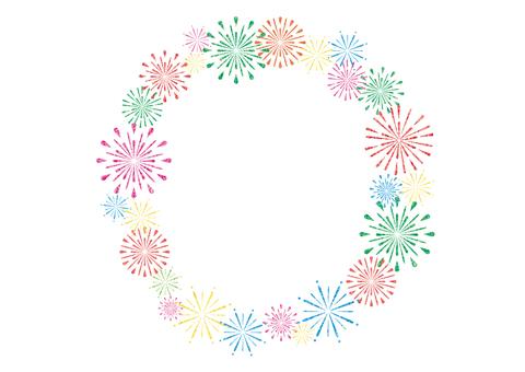 Fireworks circle frame (white)