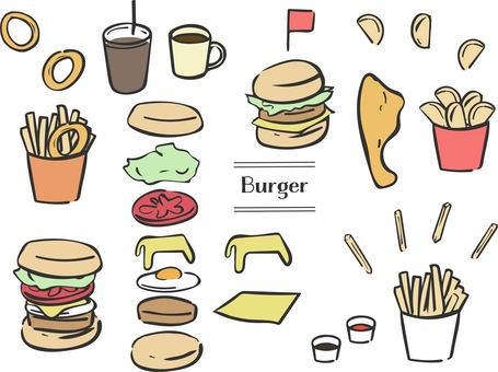 Hand drawn burger set black line color
