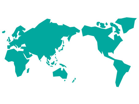World map drawn in straight lines