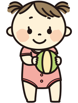 Baby with a ball (girl)