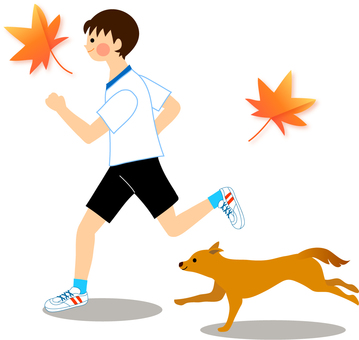 Running boy and dog