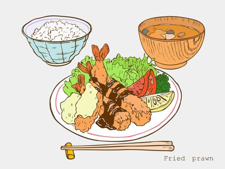 Fried shrimp set meal