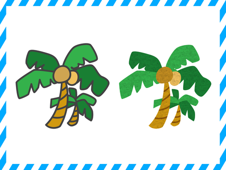 Palm tree illustration set <02>