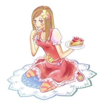 一個吃蛋糕的女孩