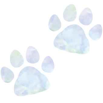 青色の肉球 足跡(シルエット)