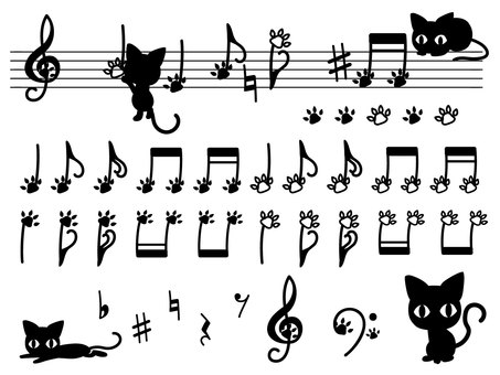 Black cat and musical note set