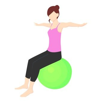 Diet - a woman riding a balance ball (pink)