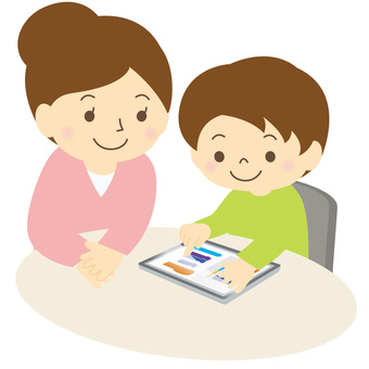 Children and adults using tablet -01
