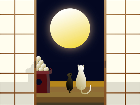 Parent and child cat watching the moon