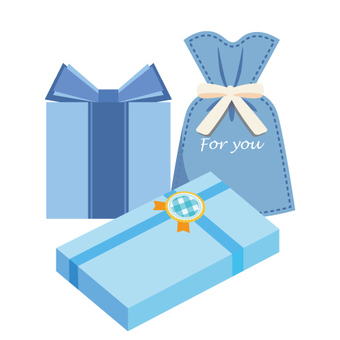 Image of the gift (wrapping various · blue