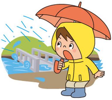 Heavy rain and bridges and people