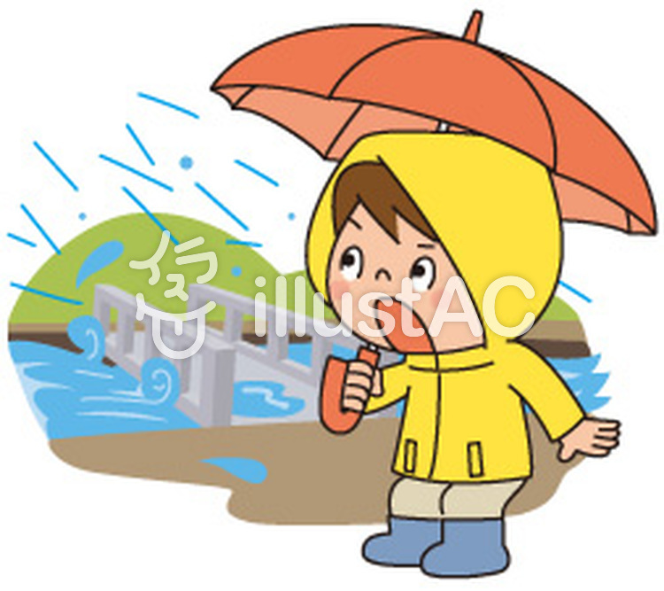 大雨と橋と人物イラスト No 862929無料イラストならイラストac
