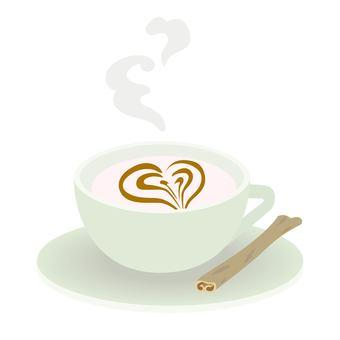 Heart latte art cappuccino