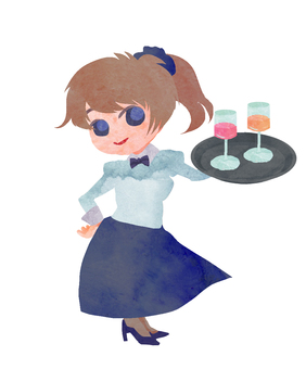 Watercolor contemporary character waitress