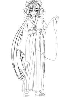 Maki Kashima, girl 3 (line drawing)