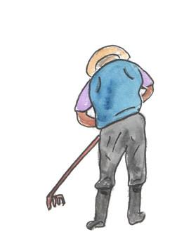 A man plowing a field