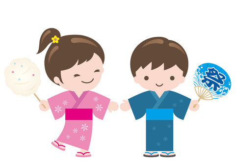 Children wearing a yukata