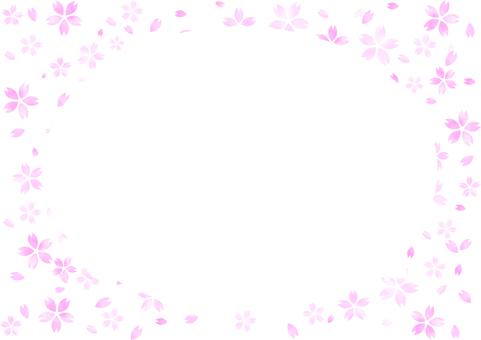 水彩タッチの淡い桜のフレーム(サークル)