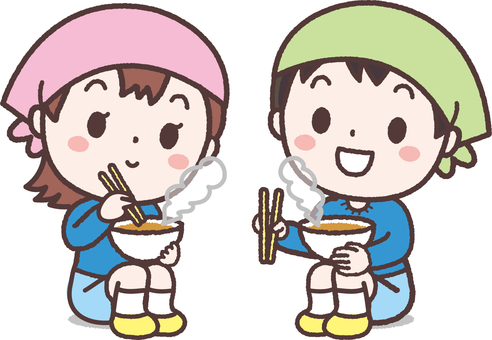 Children eating after eating outdoors