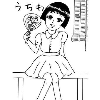 Coloring book of fan and girl