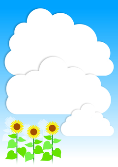 Sunflowers and summer clouds - vertical