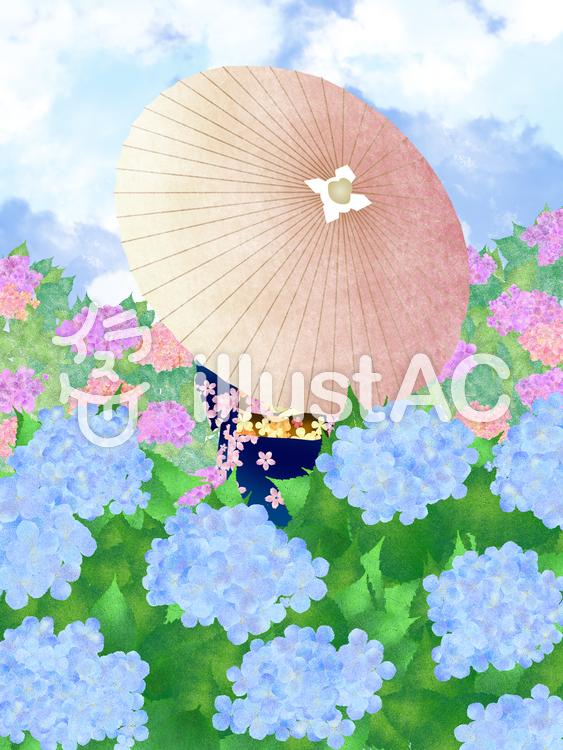 【フリーイラスト素材】和傘女性と紫陽花・1
