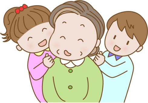 Grandchildren shouldering