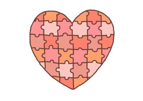 Heart puzzle (warm color)