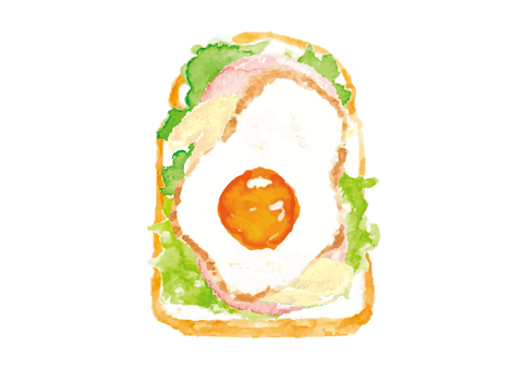 """""""Watercolor style"""" open sand _ fried egg and ham"""
