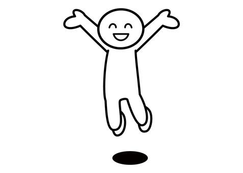 【お題】棒人間-笑顔でジャンプ