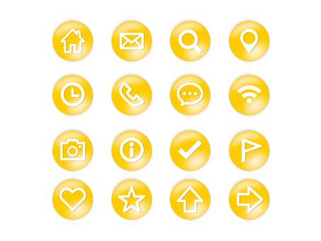 Button style icon set (yellow)