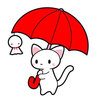 Illustration of red umbrella and cat