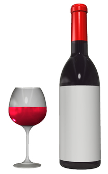 Wine bottle and wine glass
