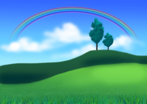The landscape where a rainbow can be seen
