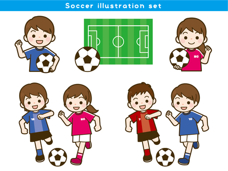 Football illustration set