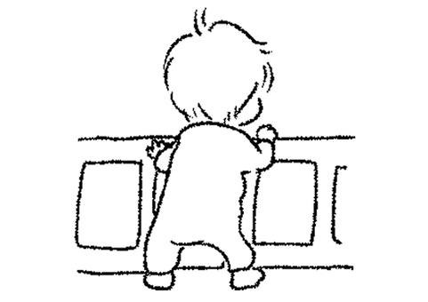 Strolling baby illustration monochrome