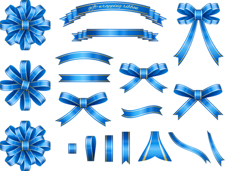 Ribbon set for blue wrapping