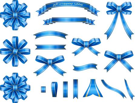 為藍色包裝設置的絲帶