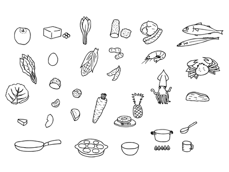 Ingredients and dishes (monochrome set)